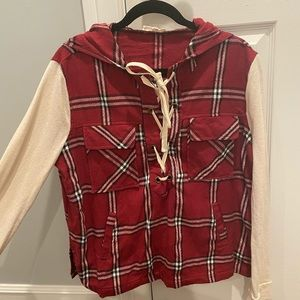 Lace up flannel hoodie